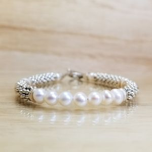 Pearl & Silver Beaded Gemstone Toggle Bracelet